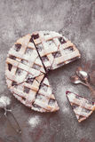 Lattice top cherry pie with powdered sugar Stock Image