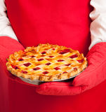 Lattice Top Homemade Cherry Pie Royalty Free Stock Image