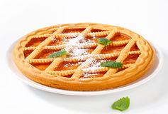Lattice topped apricot crostata Stock Photo