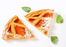Lattice topped apricot tart Stock Images