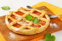 Lattice topped fruit tart crostata Stock Photos