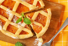 Lattice topped fruit tart crostata Royalty Free Stock Photos