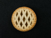 Lattice Topped Individual Bramley Apple Pie. On a Black Background Royalty Free Stock Photos