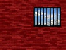 Latticed prison window. Clear sky beyond Stock Photography