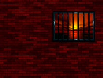 Latticed prison window stock illustration