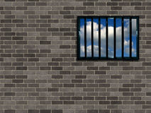 Latticed prison window. Clear sky beyond Stock Images