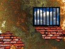 Latticed prison window. Clear sky beyond Royalty Free Stock Image