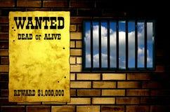 Latticed prison window Royalty Free Stock Photos