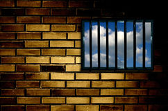 Latticed prison window Royalty Free Stock Images
