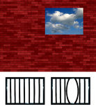 Latticed prison window pattern. Choose your grating, crop and put in the hole. Or put another view beyond the wall instead of sky. Isolated Stock Photography