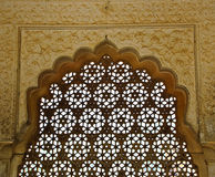 Latticed screen in Amber fort Stock Photos