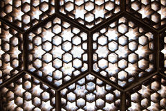 Latticework in Amer Fort. Intricate architectural details inside the Amber Fort in Jaipur, Rajasthan. Lattice windows, crafted magnificently inside Ganesh Pol Royalty Free Stock Photography