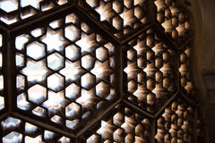 Latticework on Fort Window. Intricate architectural details inside the Amber Fort in Jaipur, Rajasthan. Lattice windows, crafted magnificently inside Ganesh Pol Royalty Free Stock Photos