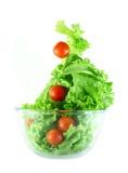 Lattuga chiara e pomodori che pilotano concetto dell'insalata Fotografia Stock Libera da Diritti