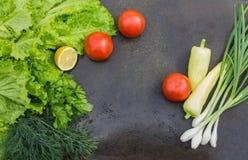 Lattuga con aneto, prezzemolo, il limone, i pomodori rossi e le cipolle verdi Fotografie Stock Libere da Diritti
