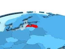 Latvia on blue globe. Latvia in red on simple blue political globe. 3D illustration Stock Images
