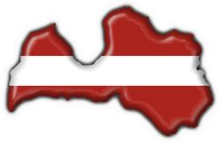 Latvia button flag map shape Stock Images