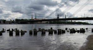 latvia Città di Riga Daugava immagini stock