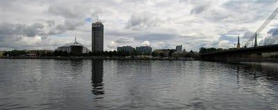 latvia Città di Riga Daugava Immagini Stock Libere da Diritti