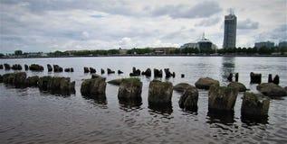 latvia Città di Riga Daugava Fotografie Stock