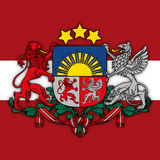 Latvia coat of arms and flag Royalty Free Stock Image