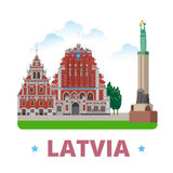 Latvia country design template Flat cartoon style. Latvia country magnet design template. Flat cartoon style historic sight showplace web vector illustration Royalty Free Stock Images