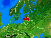 Latvia on Earth with borders. Latvia from space on model of planet Earth with country borders and very detailed planet surface. 3D illustration. Elements of this stock photography