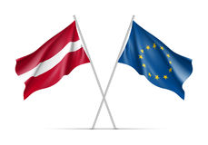Latvia and European Union waving flags Stock Photography