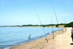 Latvia. Fishing from coast of Baltic sea Stock Image