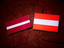 Latvia flag with Austrian flag on a tree stump  Royalty Free Stock Photo