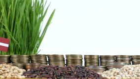 Latvia flag waving with stack of money coins and piles of wheat. And rice seeds stock footage