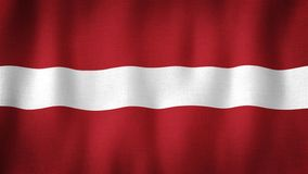 Latvia flag waving in the wind. Closeup of realistic Latvian flag with highly detailed fabric texture