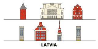 Latvia flat landmarks vector illustration. Latvia line city with famous travel sights, skyline, design. Latvia flat landmarks vector illustration. Latvia line stock illustration