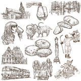 Latvia. Freehand. Hand drawn collection. Line art pack. Latvia. Republic of Latvia. Pictures of life and travel collection of an hand drawn illustrations. Pack Royalty Free Stock Photo