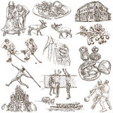 Latvia. Freehand. Hand drawn collection. Line art pack. Latvia. Republic of Latvia. Pictures of life and travel collection of an hand drawn illustrations. Pack Royalty Free Stock Image