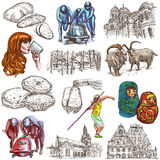 Latvia. Freehand. Hand drawn collection. Line art pack. Latvia.Republic of Latvia.Pictures of life and travel collection of  an hand drawn illustrations.Pack of Royalty Free Stock Photo