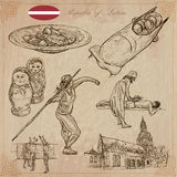Latvia. Freehand vectors. Hand drawn collection. Line art. Royalty Free Stock Photos
