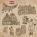 Latvia. Freehand vectors. Hand drawn collection. Line art. Stock Image