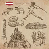 Latvia. Freehand vectors. Hand drawn collection. Line art. Royalty Free Stock Photography