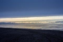 latvia Il golfo di Riga Tramonto nei colori pastelli Fotografia Stock Libera da Diritti