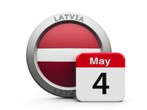 Latvia Independence Day. Emblem of Latvia with calendar button - Fourth of May - represents the Latvia independence day, three-dimensional rendering, 3D Royalty Free Stock Image