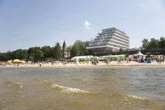 Latvia,  Jurmala. View of the coast and hotel from the gulf. Royalty Free Stock Photos