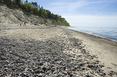 Latvia,  Kurzeme. Beach and steep coast of the Baltic Sea. Royalty Free Stock Photography