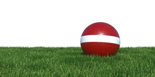 Latvia Latvian flag soccer ball lying in grass world cup 2018. Isolated on white background. 3D Rendering, Illustration Royalty Free Stock Photos