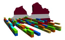 Latvia map with containers Stock Photography