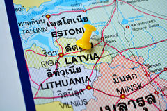 Latvia map. Macro shot of latvia map with push pin Stock Image