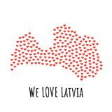 Latvia Map with red hearts - symbol of love. abstract background. Latvia Map with red hearts- symbol of love. abstract background with text We Love Latvia Royalty Free Stock Photos