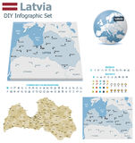 Latvia maps with markers Royalty Free Stock Photography