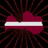 Latvia mapy flaga na czerwonej hex kodu wybuchu ilustraci ilustracji