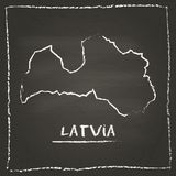 Latvia outline vector map hand drawn with chalk. Royalty Free Stock Photography